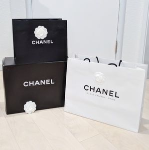 Chanel shopping bags and box lot